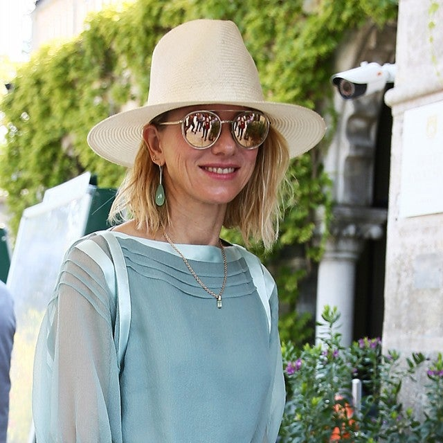 Naomi Watts in blue dress arriving at Venice Film Festival