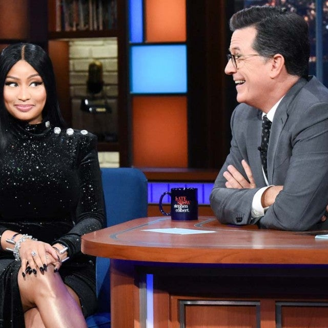 Nicki Minaj and Stephen Colbert on 'The Late Show' on Aug. 13