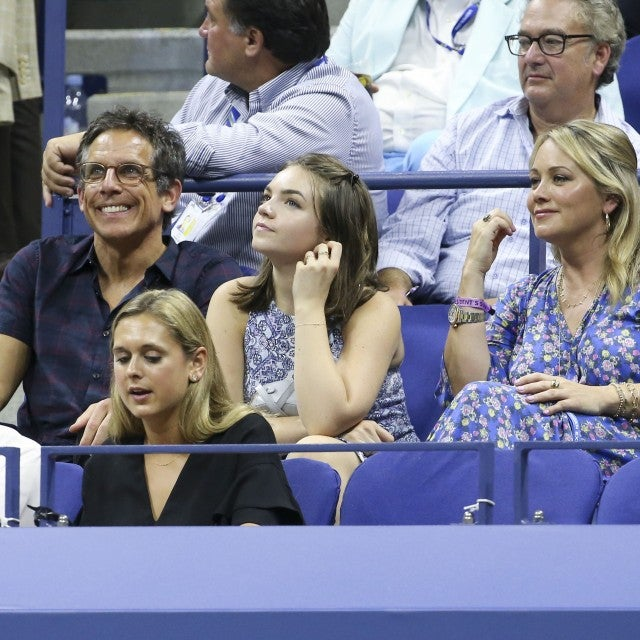 Ben Stiller, Christine Taylor and their daughter Ella Stiller attend day 3 of the 2018 tennis US Open on Arthur Ashe stadium at the USTA Billie Jean King National Tennis Center on August 29, 2018 in Flushing Meadows, Queens, New York City.
