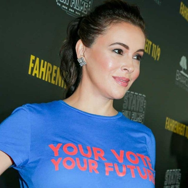 Alyssa Milano at the premiere of 'Fahrenheit 11/9' in Beverly Hills on Sept 19.