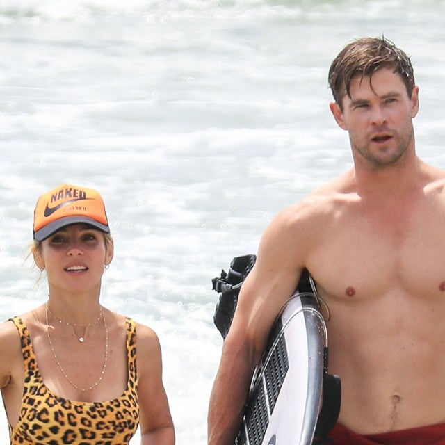 Chris Hemsworth, Elsa Pataky surfing