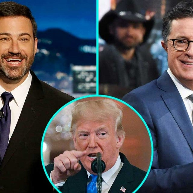 Jimmy Kimmel, President Donald Trump and Stephen Colbert