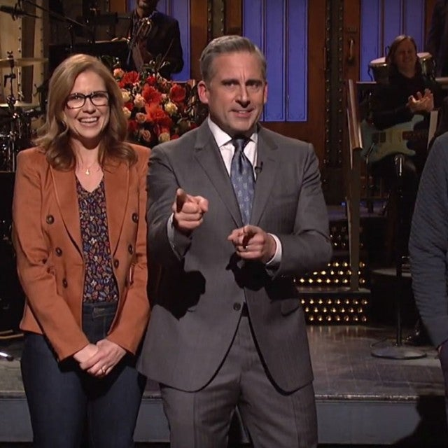 Steve Carell, Jenna Fischer, Ellie Kemper and Ed Helms have a mini 'Office' reunion on 'Saturday Night Live'