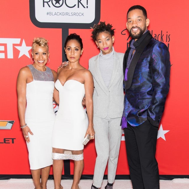 Adrienne Banfield-Jones, Jada Pinkett Smith, Willow Smith, and Will Smith attend the BET's 'Black Girls Rock!' Red Carpet at NJ Performing Arts Center on March 28, 2015 in Newark, New Jersey.