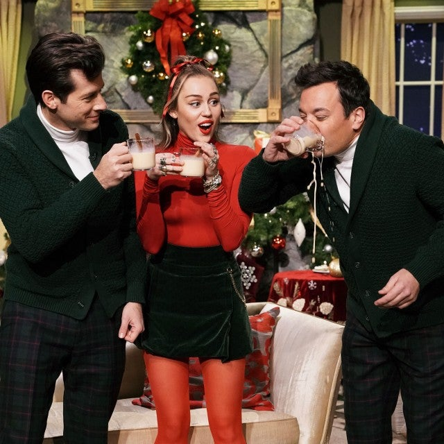 Miley Cyrus and Mark Ronson on the Tonight Show