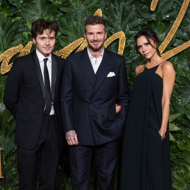 David Beckham, Victoria Beckham and son Brooklyn Beckham at 2018 British Fashion Awards.