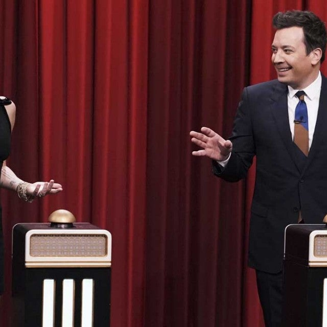 Miley Cyrus and Jimmy Fallon play a game on the 'Tonight Show' on Dec. 13