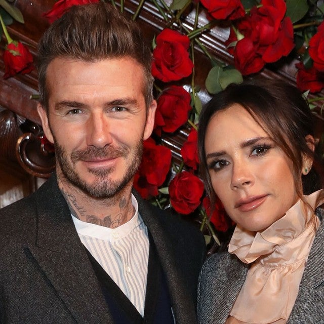 David Beckham and Victoria Beckham at the Kent & Curwen presentation