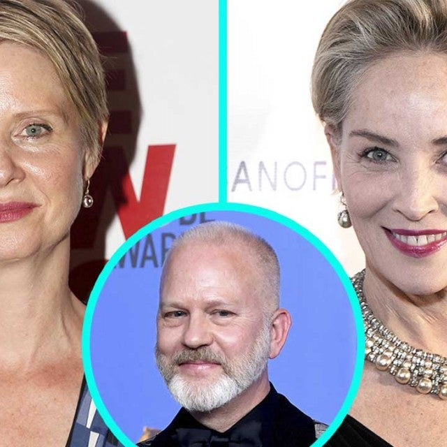 Cynthia Nixon and Sharon Stone with Ryan Murphy (inset)