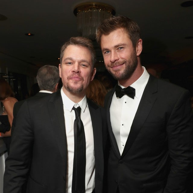 Matt Damon and Chris Hemsworth attend Amazon Studios Golden Globes Celebration at The Beverly Hilton Hotel on January 8, 2017 in Beverly Hills, California.