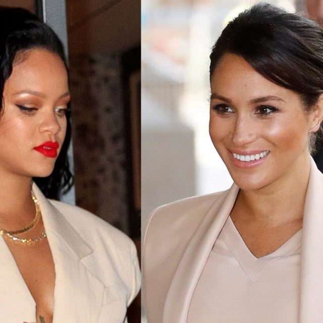 Meghan Markle and Rihanna in beige 1280