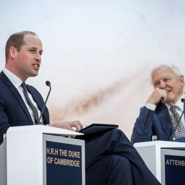 Prince William and British naturalist, documentary maker and broadcaster David Attenborough attend a conversation during the World Economic Forum (WEF) annual meeting, on January 22, 2019 in Davos, eastern Switzerland.