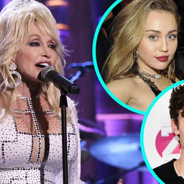 Dolly Parton with Miley Cyrus and Shawn Mendes (inset)