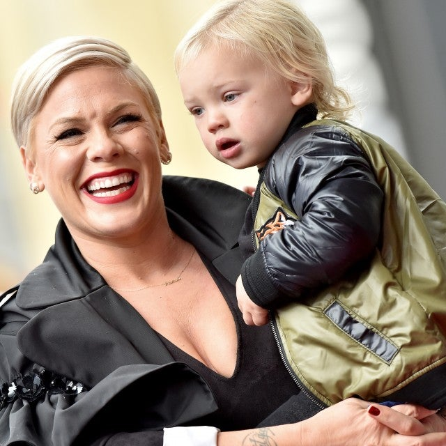 Pink and son Jameson at walk of fame ceremony