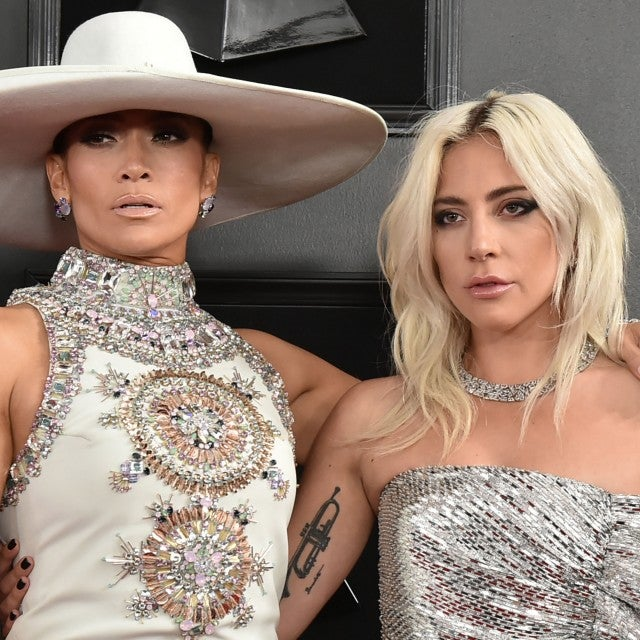 Jennifer Lopez and Lady Gaga at the 61st Annual Grammy Awards