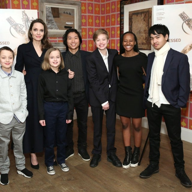 Angelina Jolie with children attend 'The Boy Who Harnessed The Wind' Special Screening at Crosby Street Hotel on February 25, 2019 in New York City.