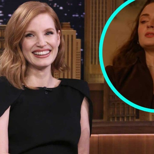 Jessica Chastain on 'The Tonight Show' with Sophie Turner in 'X-Men: Dark Phoenix' (inset)