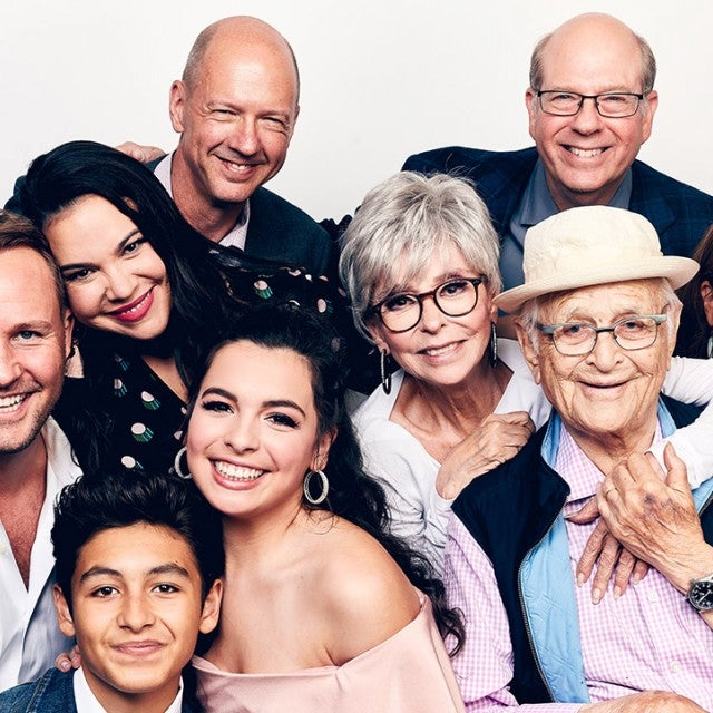 Brent Miller, Marcel Ruiz, Gloria Calderon Kellett, Mike Royce, Isabella Gomez, Rita Moreno, Stephen Tobolowsky, Normal Lear, and Justina Machado of Netflix's 'One Day at a Time' pose for a portrait during the 2018 Summer Television Critics Association Press Tour at The Beverly Hilton Hotel on July 29, 2018 in Beverly Hills, California.