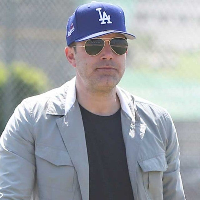 Ben Affleck play baseball with his son Sam in Los Angeles on March 24