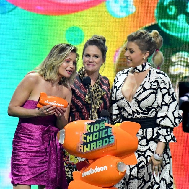 Candace Cameron Bure, Andrea Barber Jodie Sweetin accept the Favorite Funny TV Show award for 'Fuller House' onstage at Nickelodeon's 2019 Kids' Choice Awards at Galen Center on March 23, 2019 in Los Angeles