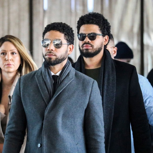 Jussie Smollett and team arrive for a court hearing at the Leighton Criminal Courthouse on March 12, 2019 in Chicago.