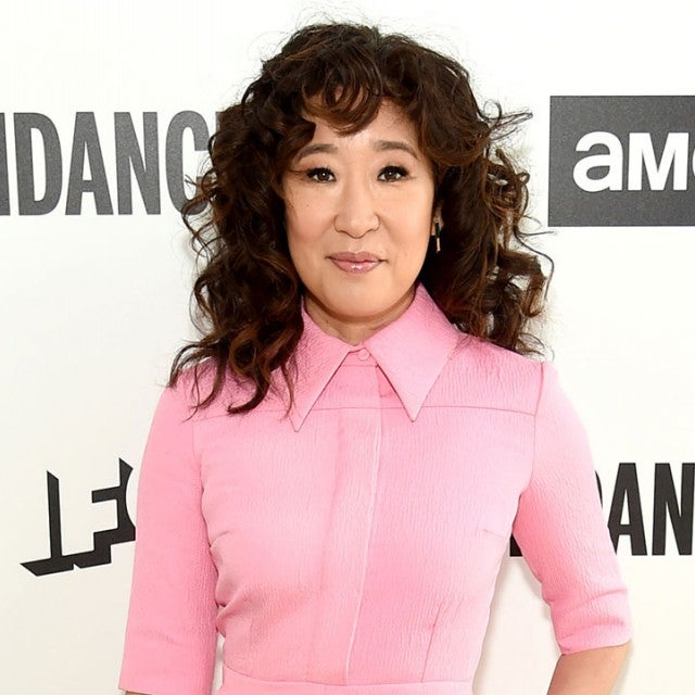 Sandra Oh in pink outfit