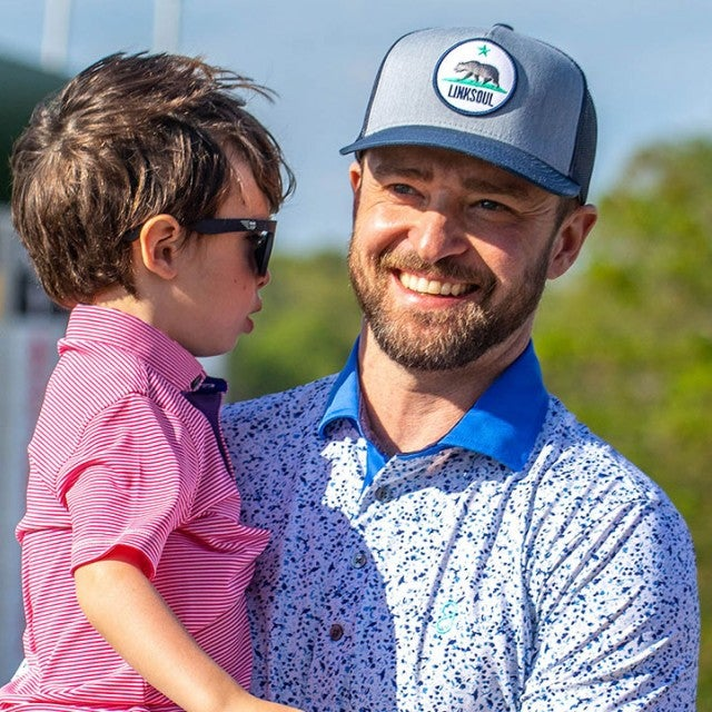 Justin Timberlake and son at golf tournament in MO