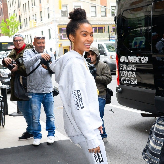 Yara Shahidi with no makeup in adidas outfit in nyc