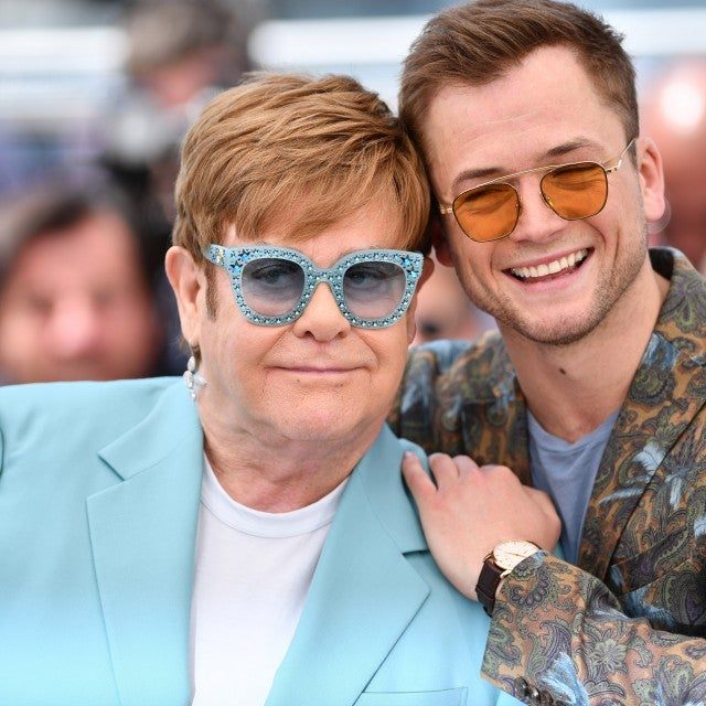 Elton John and Taron Egerton pose during the photocall for the film 'Rocketman' at the 72nd annual Cannes International Film Festival in Cannes, France on May 16, 2019.