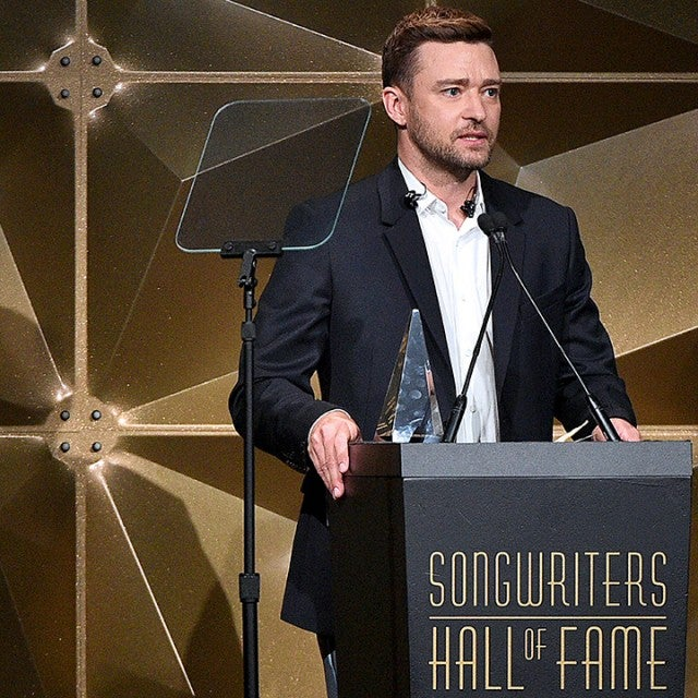 Justin Timberlake accepts the Contemporary Icon Award onstage during the Songwriters Hall Of Fame 50th Annual Induction And Awards Dinner at The New York Marriott Marquis on June 13, 2019 in New York City.