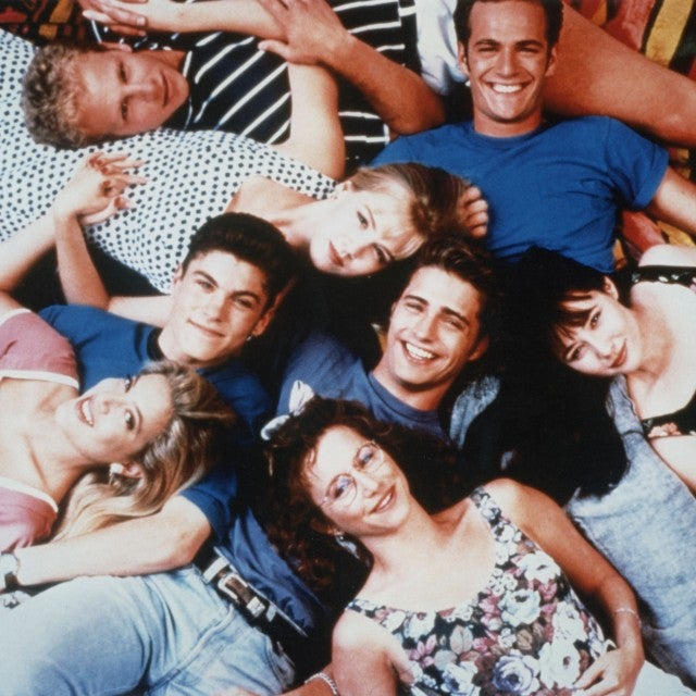 Cast of Beverly Hills, 90210: Tori Spelling, Brian Austin Green, Ian Ziering, Jennie Garth, Jason Priestley, Gabrielle Carteris, Luke Perry, Shannen Doherty