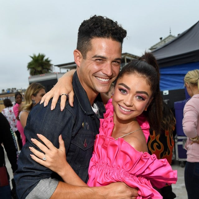Wells Adams and Sarah Hyland backstage at 2019 teen choice awards