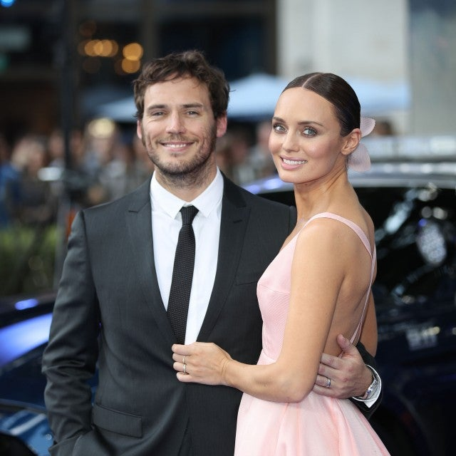 "Sam Claflin and Laura Haddock at the global premiere of ""Transformers: The Last Knight"" in 2017"