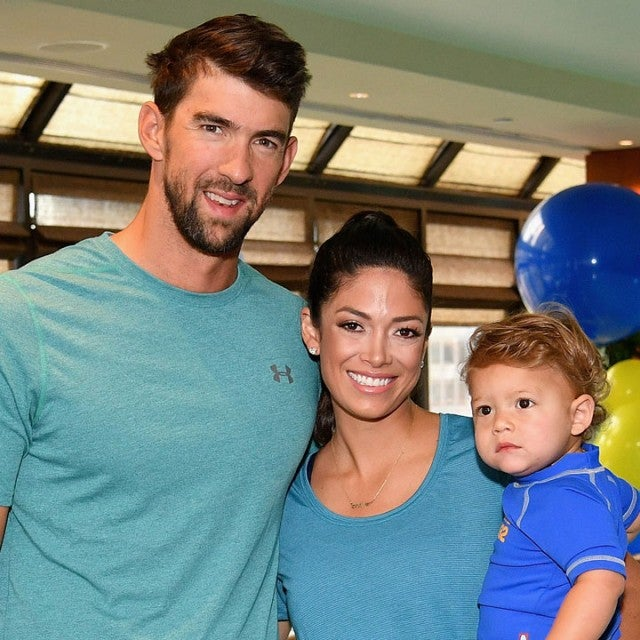 Michael Phelps, Nicole Johnson and son Boomer in august 2017