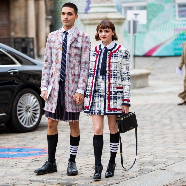 Reuben Selby and Maisie Williams during paris fashion week
