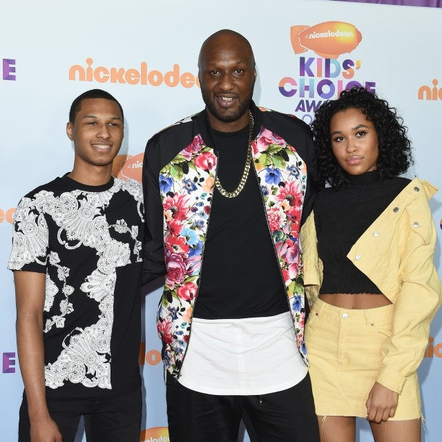 Lamar Odom with his son Lamar Odom Jr and daughter Destiny Odom at the Nickelodeon's 2017 Kids' Choice Awards.