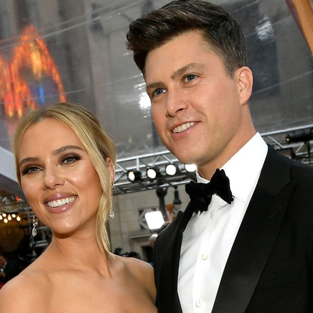 scarjo and colin jost at 2020 oscars