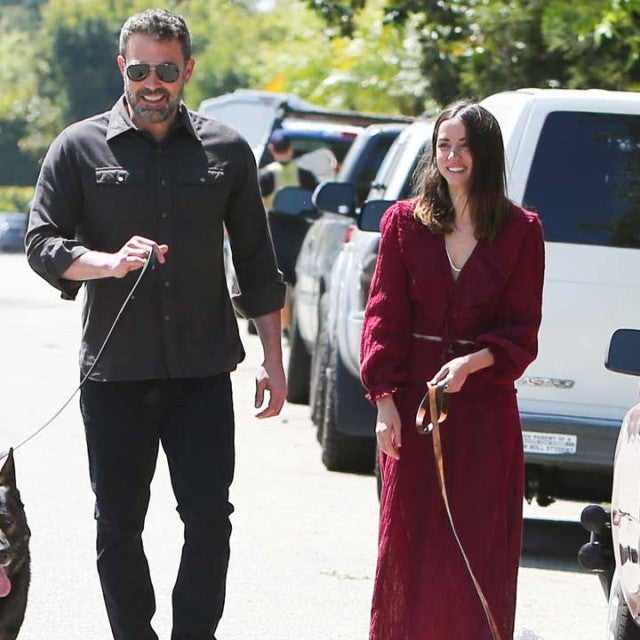 ben affleck and ana de armas with their dogs