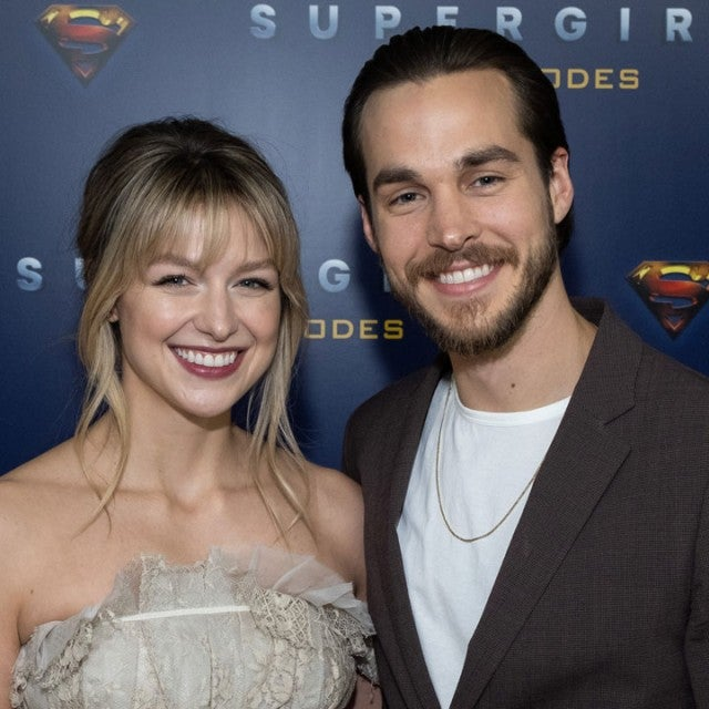 Melissa Benoist and Chris Wood at the red carpet for supergirl 100th episode celebration