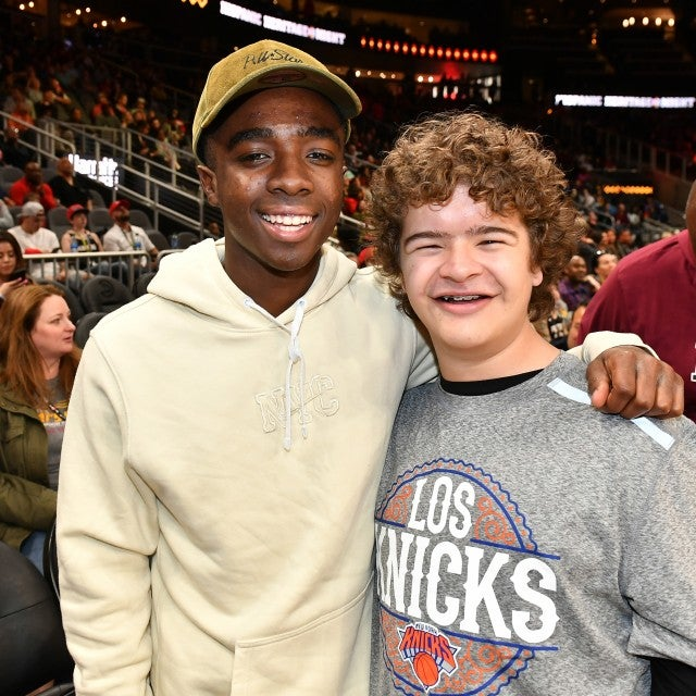 Caleb McLaughlin and Gaten Matarazzo at New York Knicks vs Atlanta Hawks game