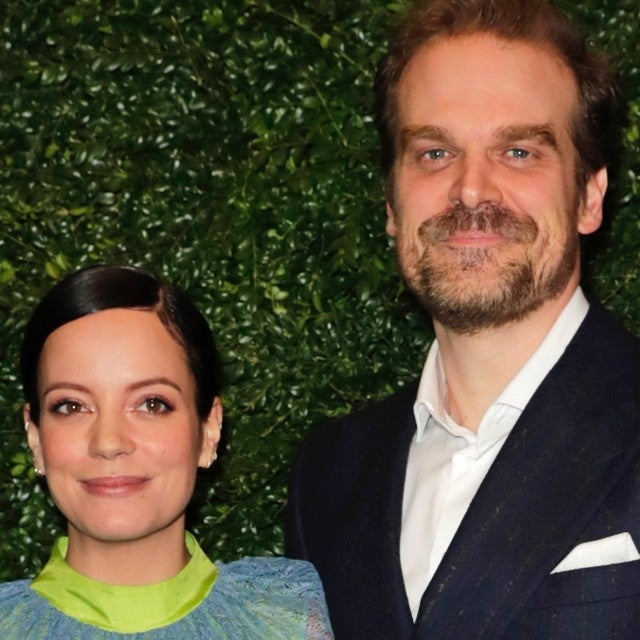 Lily Allen and David Harbour arrive at the Charles Finch & CHANEL Pre-BAFTA Party at 5 Hertford Street