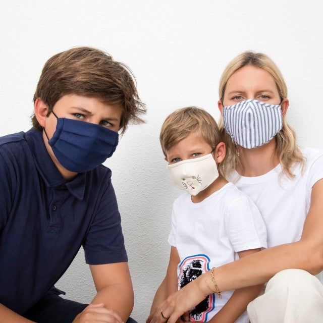 karolina kurkova and sons with masks