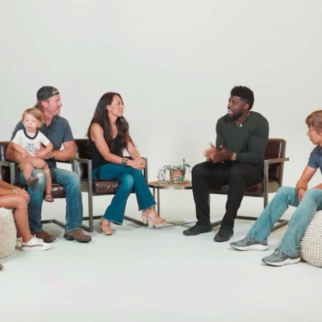 Chip and Joanna Gaines and their kids with Emmanuel Acho