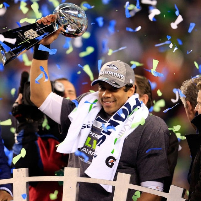 Russell Wilson after 2014 super bowl win