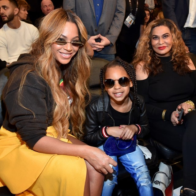 Beyonce, Blue Ivy Carter, and Tina Knowles at the 67th NBA All-Star Game