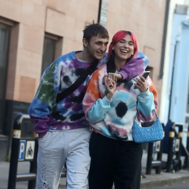 Anwar Hadid and Dua Lipa in tie-dye