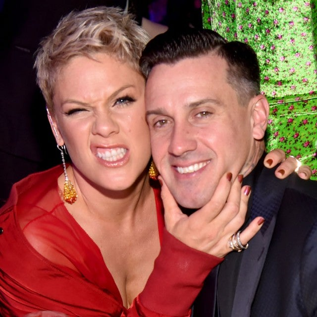 pink and carey hart at 2017 grammy party