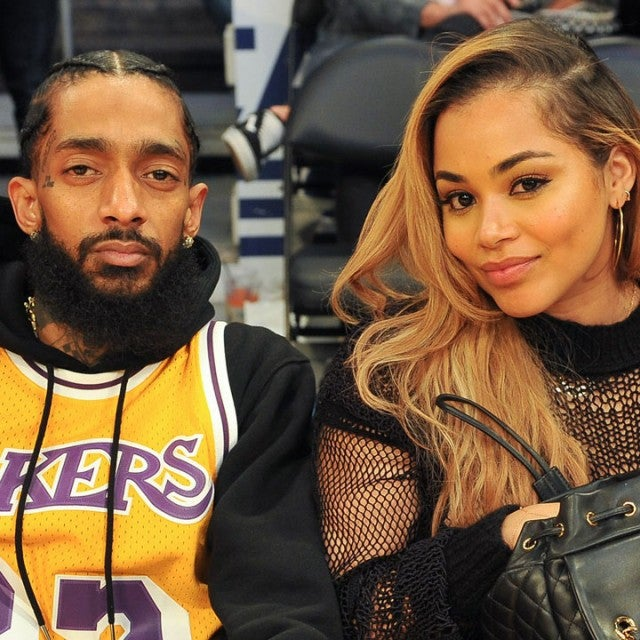 Nipsey Hussle and Lauren London at lakers game in 2017