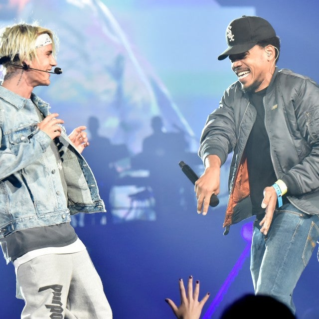 Recording artist Justin Bieber (L) and Chance The Rapper perform at the 2016 Purpose World Tour at Staples Center on March 20, 2016 in Los Angeles, California.