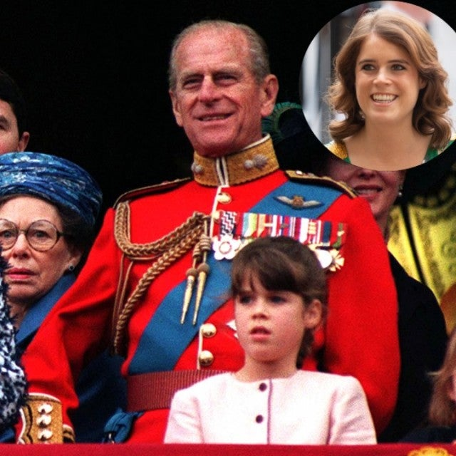 Queen Elizabeth II, Prince Philip, and Princess Eugenie